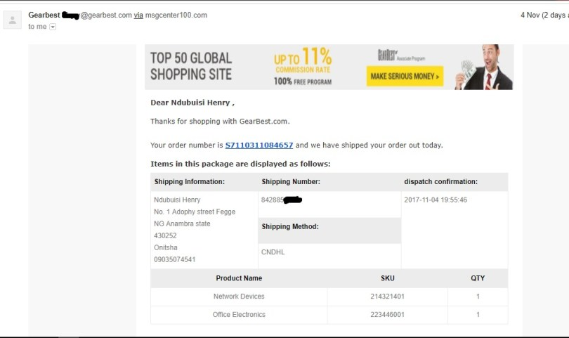 my order from gearbest