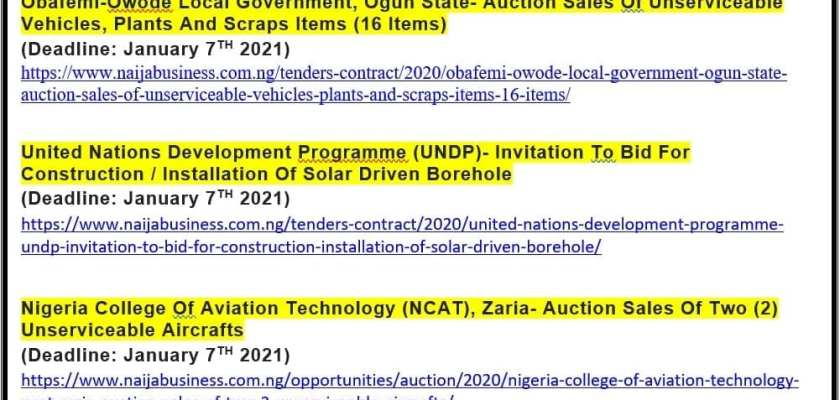 List Of Business Tenders With January 2021 Submission Deadlines