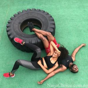 An appealing photo of Timi Dakolo and wife after a gym session; Love is beautiful when you find your perfect match ❤️