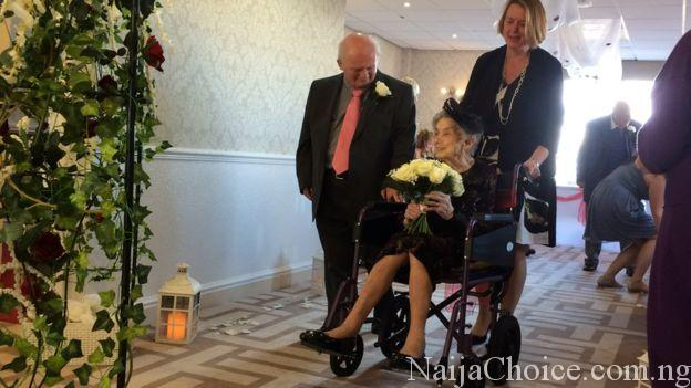 Hillarious! 100-Year-Old Woman In A Wheelchair Gets Married To 74-Year-Old Man (Photos)