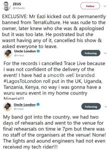 Mr Eazi Reacts After Being Allegedly Thrown Out, Banned From TerraKulture Lagos For Being Rude