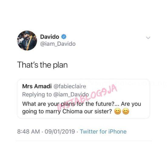 Davido Reveals Plans For Chioma After Her IG Page Disappeared