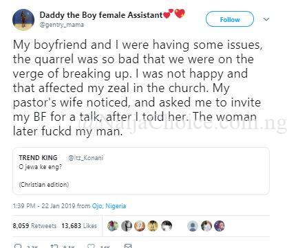 My Boyfriend Slept With My Pastor's Wife Who Wanted To Settle Our Dispute