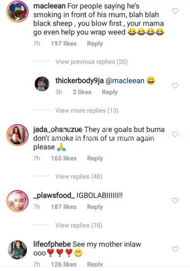 Nigerians Reacts As Burna Boy Smokes Out In Presence Of His Mum (Watch)