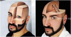 Wow! Meet The Talented Makeup Artist Who Turned His Face Into 3D Optical Illusions (Photos)