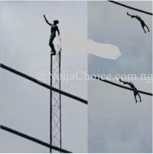 Shocker! Man Jumps To His Death After Climbing A Network Mast In Ibadan (Photo+Videos)