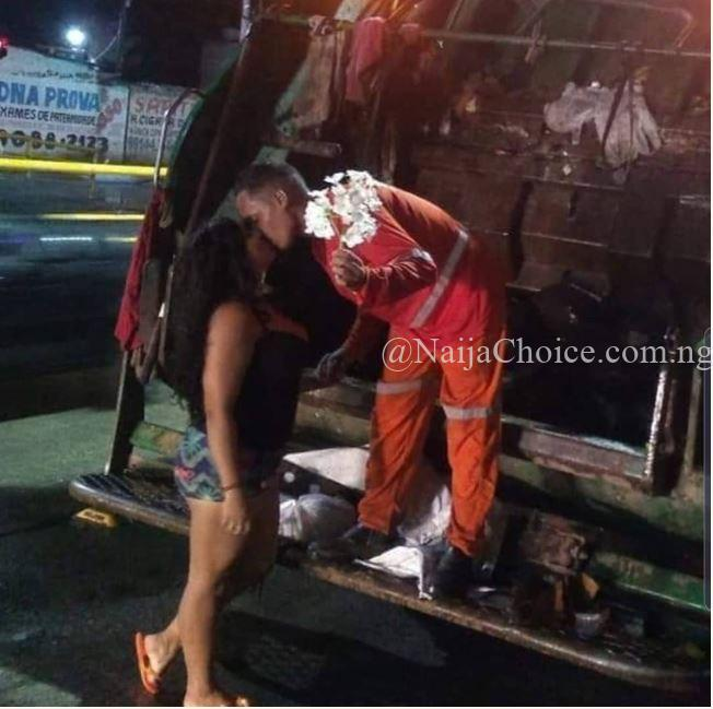 Lady Proudly Kissed Her Man Who Is A Waste Collector, Shares Romantic Photos