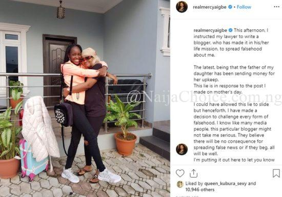 Mercy Aigbe issues threat to blogger over her daughter