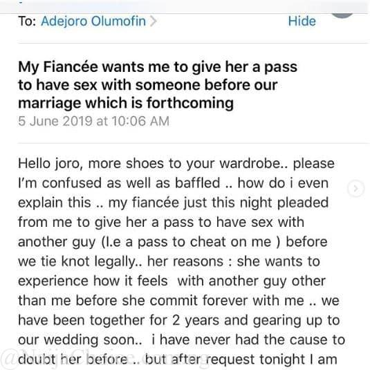 Nigerian Bride Begs Her Man To Allow Her Cheat One Last Time Before Wedding Day