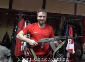 Unbelievable! Ice Hockey Goalkeeper Receives AK-47 Rifle As Man Of The Match Prize (Photo)