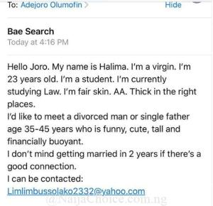 Virgin Lady Seeks Serious Man To Get Married To, See Her Contact
