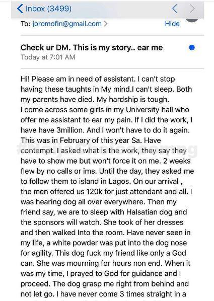 How I Slept with a Dog in Victoria Island For Money - Lagos Girl Talks Bad Romance (Images)