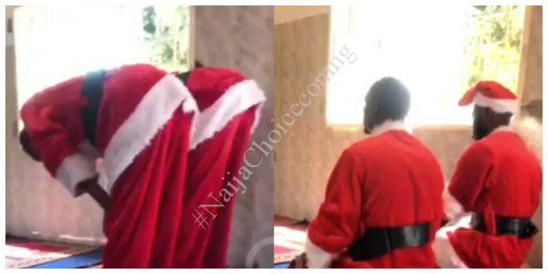 2 Muslim Men Dressed In Santa Claus Costume Seen Praying Inside Mosque (Video)