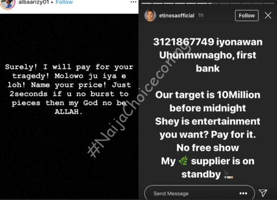 Etinosa demands N10M from Nigerians to use the Quran as an ashtray