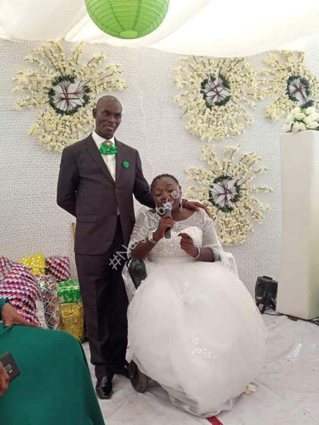 Lady On Wheelchair Weds In Abuja, Her Bridal Train Also On Wheelchairs (Photos)