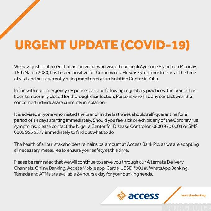 Coronavirus: Access Bank Closes Branch In Lagos After A Visitor Tested Positive