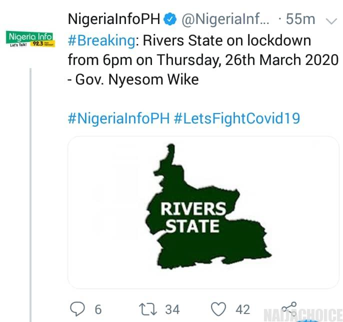 Rivers State On Lockdown, All Borders Closed  Over Coronavirus