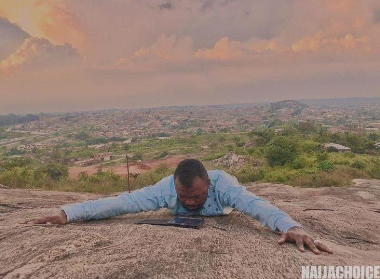 Toyin Abraham's Husband, Climbs Top Of Mountain To Deliver Powerful Prayers Against Coronavirus