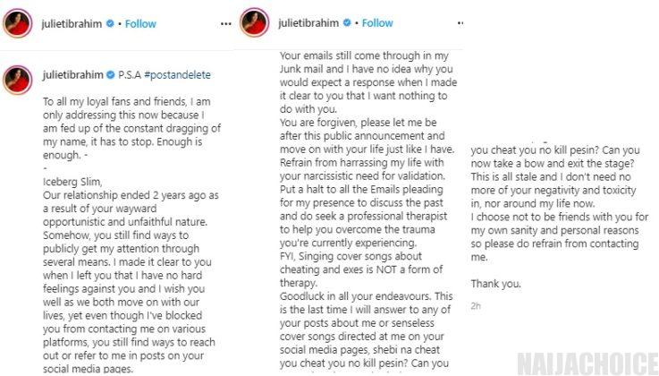 """""""Stop trying to get my attention, i'm fed up"""" – Actress Juliet Ibrahim blasts her ex, rapper Icebergslim."""
