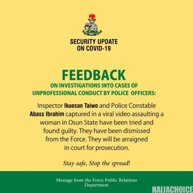 NPF Dismisses Policemen Who Slapped, Assaulted A Woman In Osun (Photos)
