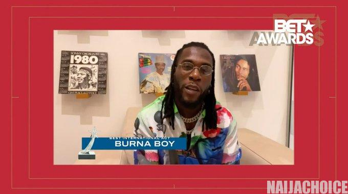 Burna Boy Wins BET Best International Act 2020  (Full List Of Winners)