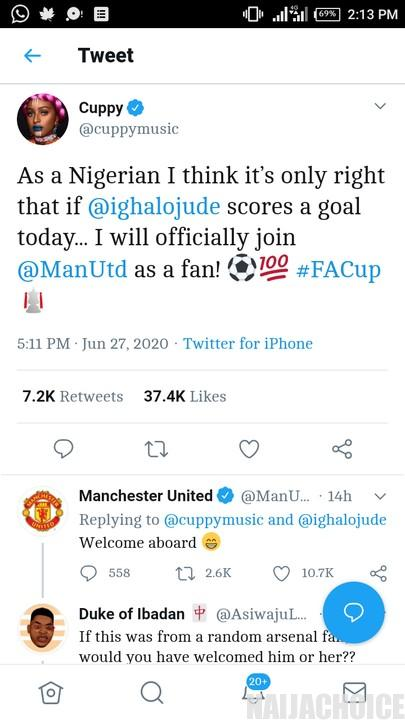 DJ Cuppy Switches To Man Utd. Gets Official Welcome From The Club