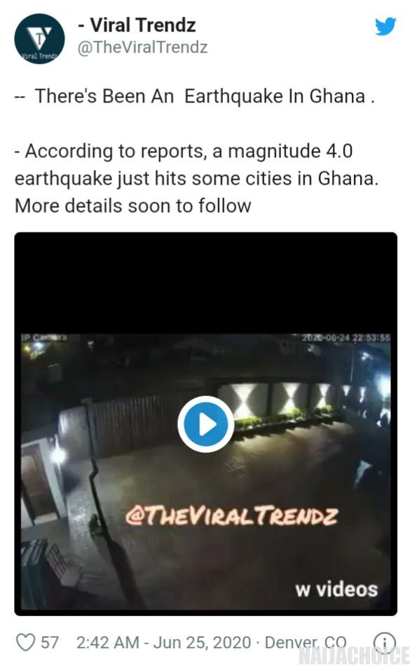 Magnitude 4.0 Earthquake Hits Ghana (Video)