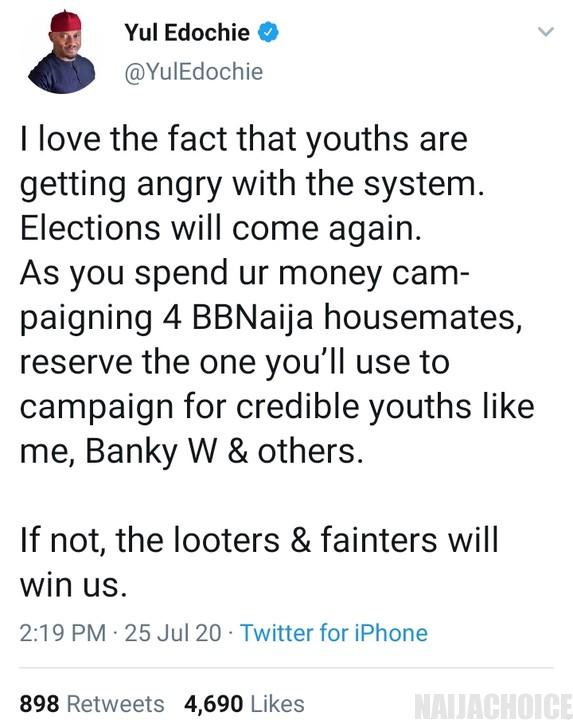 BBNaija: Use Money To Campaign For Youths Like Me, Banky W - Yul Edochie To Nigerians