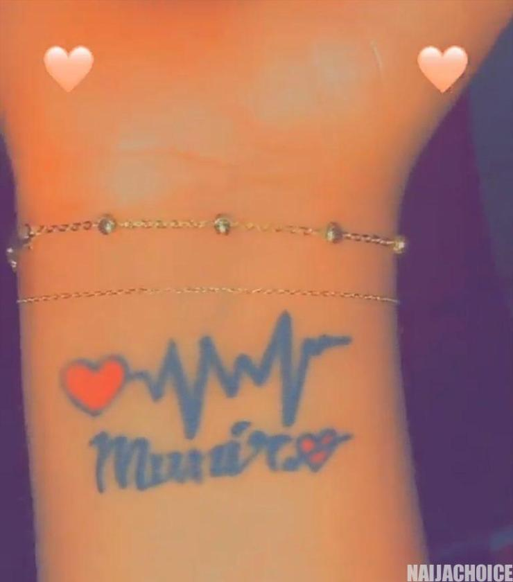 Regina Daniels Tattoos Her Son's Name 'Munir'  On Her Wrist