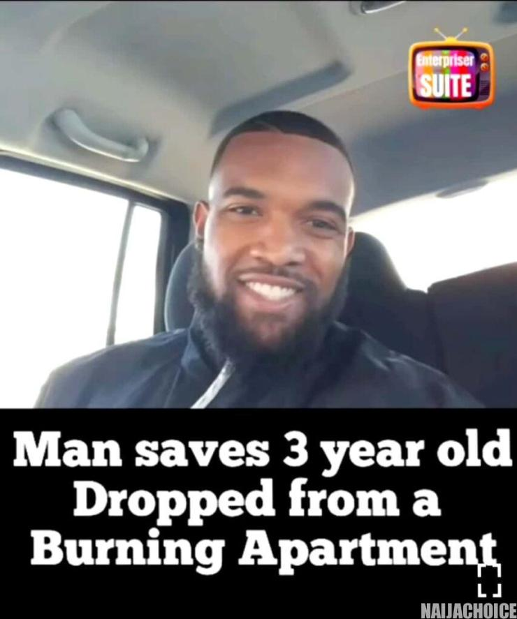 The Dramatic Moment A Man Caught A Child Thrown Out Of A Burning House In US