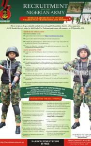 2020 Recruitment Into The Nigerian Army Begins . How To Apply