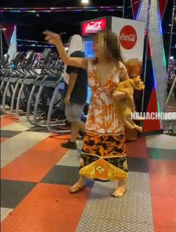 Drama As Woman Strips Completely N*ked Inside A Gym After Her Cat Was Denied Entry (Video)