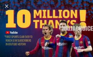FC Barcelona Becomes 1st Sports Club With 10 Million Subscribers On Youtube