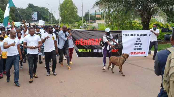 Photos From #EndSARS Peaceful Protests In Enugu State