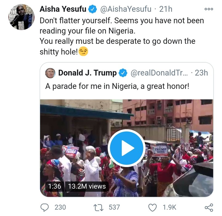 Aisha Yesufu To Trump: Stop Flattering Yourself With Tweet About Nigerian Parade
