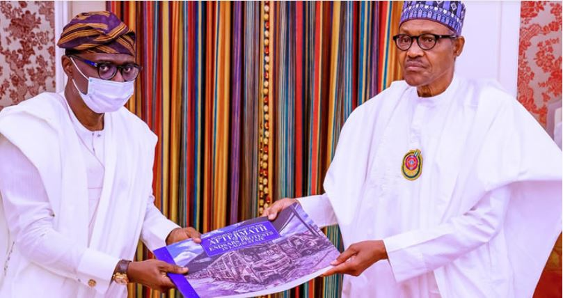 BREAKING: Sanwo-Olu Meets Buhari, Presents Report On 'Lagos Destruction'