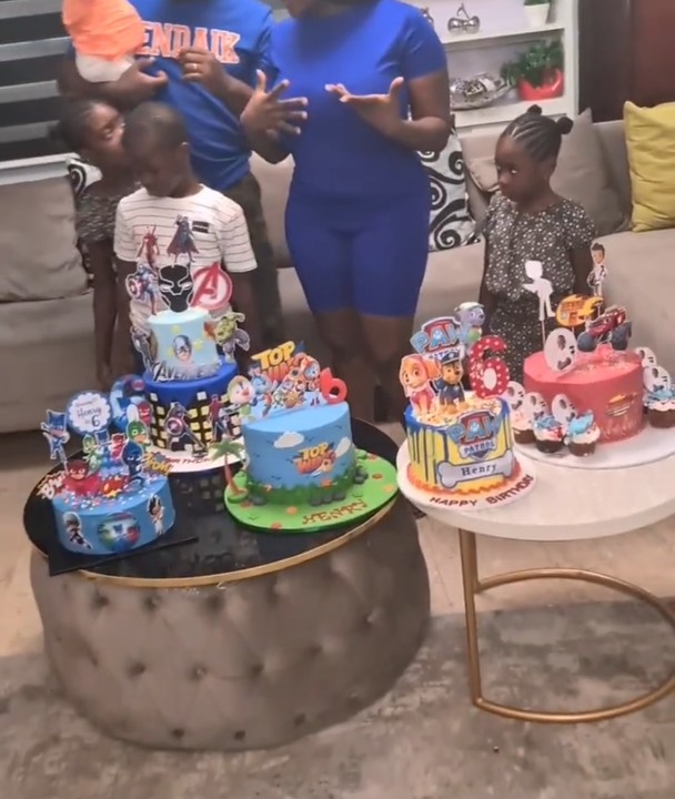 Mercy Johnson Celebrates Her Son's 6th Birthday With 5 Cakes (Photos, Video)