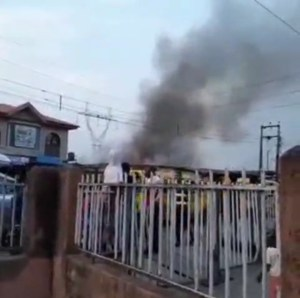 Commotion As Fire Razes Shops In Surulere (Video)