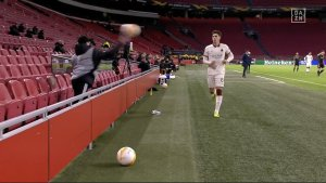 Ajax Ball Boy Angrily Throws Ball At Roma Player For Time Wasting (Photos, Video)