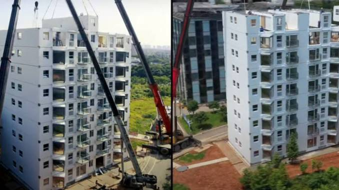 Chinese Company Erects Luxury 10-Storey Apartment Building In 28 Hours (Photos)