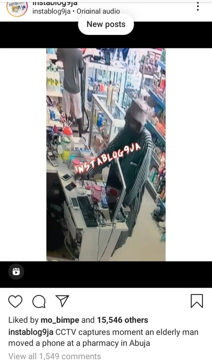 CCTV Captures Old Man Stealing Mobile Phone At A Pharmacy In Abuja
