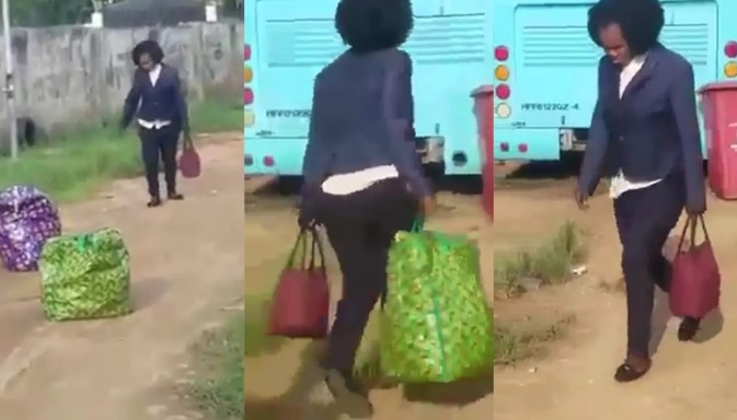 Nigerian woman set to travel abroad runs mad as she arrives at the airport (Video)