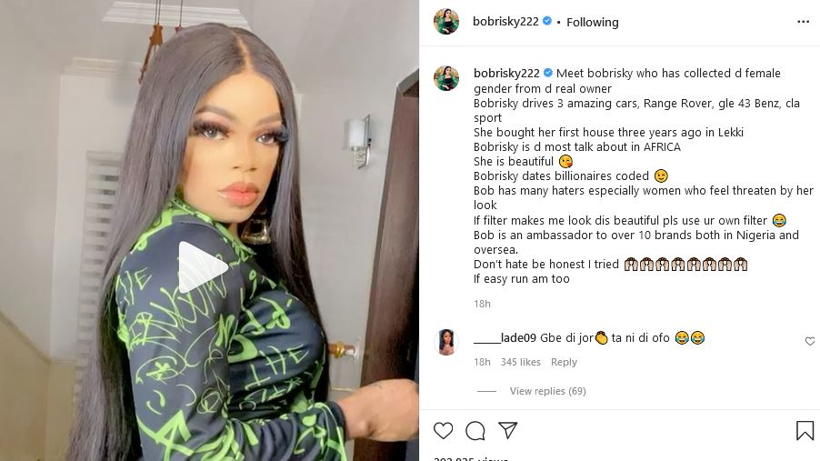 """""""I Collected The Female Gender From The Real Owners"""" – Bobrisky Brags"""