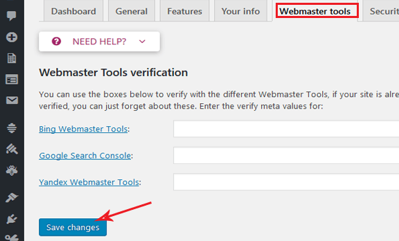 verifying website with search engines