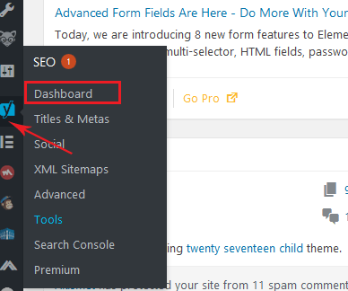 accesing newly installed Yoast SEO