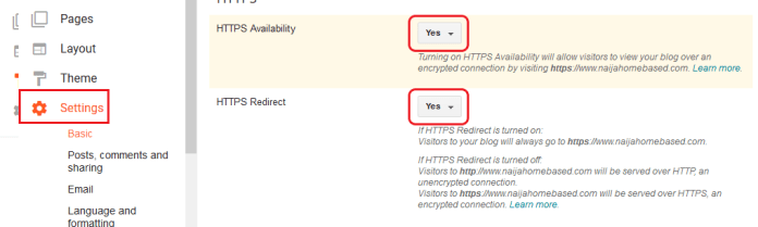 Activating SSL on the blogger dashboard