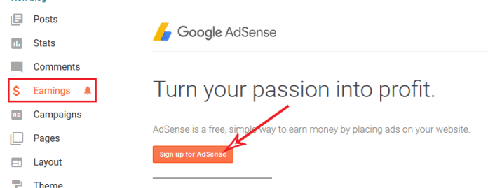 signig up for adsense on the blogger.com dashboard
