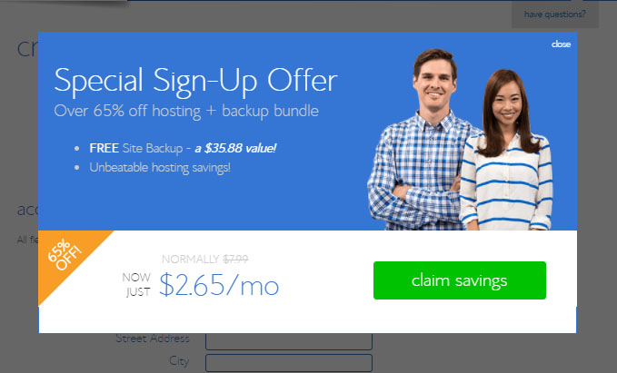 discount notification popup for starting your website with bluehost