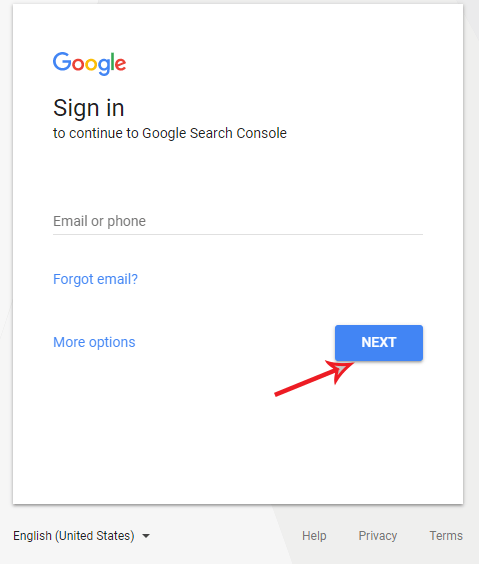 google sign in to continue to Google Search Console