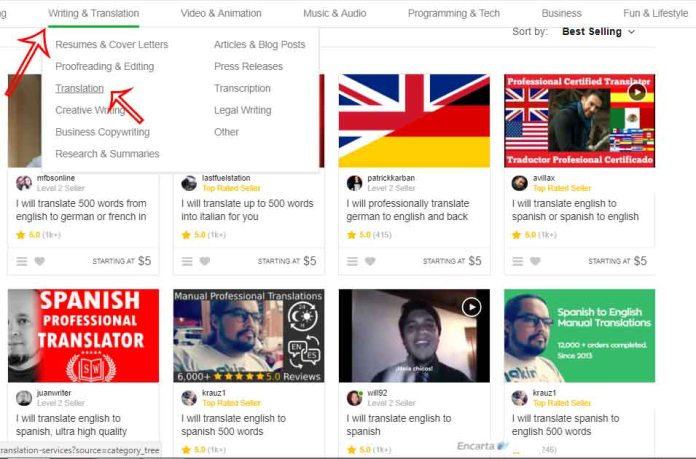 First page gigs for translation on Fiverr
